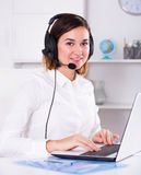 Woman in call-centre Royalty Free Stock Images
