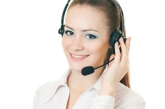 Woman call with headset. Young beautiful woman call with headset on white background Stock Photography