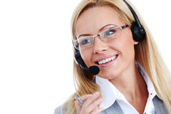Woman call with headset Stock Images