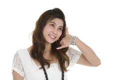 Woman with call me sign Stock Photography