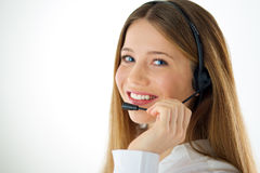 Woman call operator Royalty Free Stock Photos