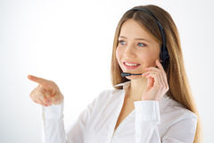 Woman call operator touching imaginary button Royalty Free Stock Images