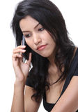 Woman call phone. Image of business woman use her mobile phone on white background Stock Image