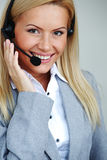 Woman Call With Headset Royalty Free Stock Images