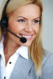 Woman Call With Headset Royalty Free Stock Photography