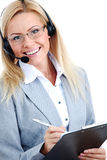 Woman Call With Headset Royalty Free Stock Photos