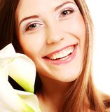 Woman with calla flowers. Young woman with calla flowers Stock Photography