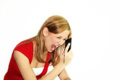 Woman is calling Stock Images