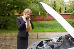 Woman calling for assistance Royalty Free Stock Photography