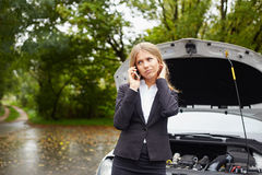 Woman calling for assistance Royalty Free Stock Photos