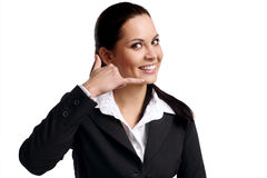 Woman calling by cellular phone Royalty Free Stock Images