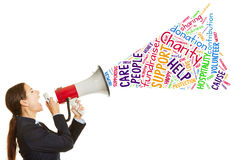 Woman calling for charity fundraiser Royalty Free Stock Images