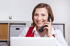 Woman calling customer support Royalty Free Stock Photo