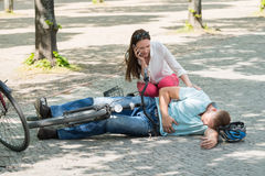Woman Calling For Help After Man Getting Injured royalty free stock photography