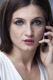 Woman calling by mobile Stock Photo
