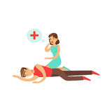 Woman calling by mobile for help to young unconscious man vector Illustration Stock Photos