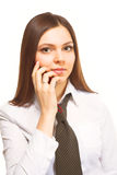 Woman calling by mobile phone Stock Image