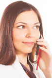 Woman calling by mobile phone Stock Photo
