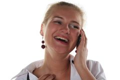 Woman calling by mobile phone Stock Photos
