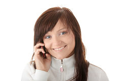 Woman is calling with a mobilephone Royalty Free Stock Images