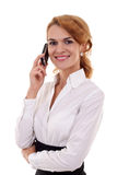 Woman calling by phone stock photos