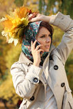Woman calling by phone Royalty Free Stock Photos