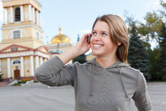 Woman calling on phone Stock Images