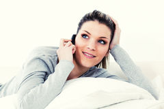 Woman calling by phone Stock Photo