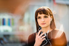 Woman calling phone in street Royalty Free Stock Photo