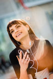 Woman calling phone in street Royalty Free Stock Photography