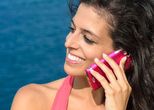 Woman calling roaming on vacations Royalty Free Stock Image