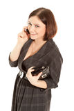 Woman calling to phone Stock Image