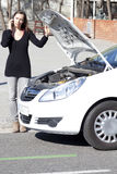 Woman calls after car is broken Stock Images
