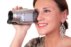 Woman with camcorder Stock Photos