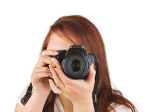 Woman with camera Stock Photo