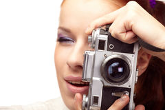 Woman with camera. Beautiful young  woman with camera Stock Photography