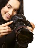 Woman and camera royalty free stock photos