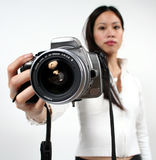 Woman and camera Stock Photo
