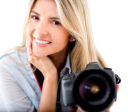 Woman with a camera Stock Image