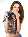 Woman with camera. Stock Photos