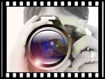 Woman, Camera, Hand, Lens Stock Image