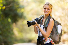 Woman camera mountain Stock Photos