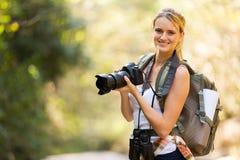 Woman camera mountain Stock Photos