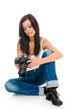 Woman and camera Royalty Free Stock Image