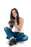 Woman and camera Royalty Free Stock Image
