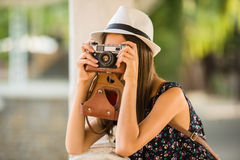 Woman with camera royalty free stock photo