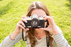 Woman camera Royalty Free Stock Photos
