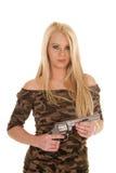 Woman camo dress hold pistol Stock Photo