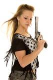 Woman camo pants star shirt gun close Royalty Free Stock Photography