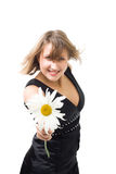 Woman with camomile Royalty Free Stock Images